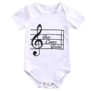 """Other - Baby unisex boutique romper """"here comes treble"""""""